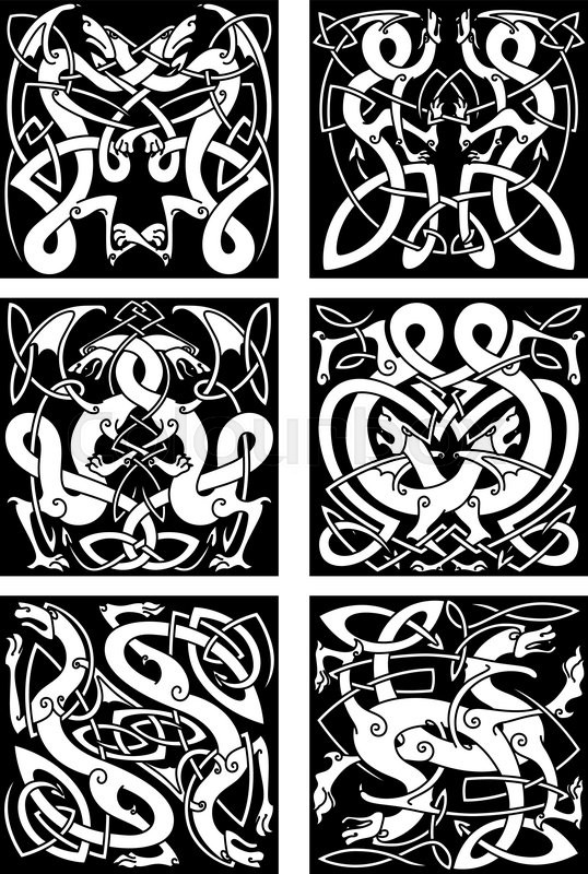 Medieval Celtic Knot Patterns Of Dragons With Entwined Wings And Fascinating Celtic Knot Patterns