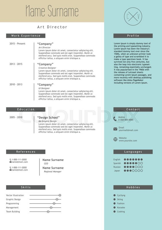 stock vector of vector creative resume template minimalistic blue and beige style cv - Elements Of A Resume
