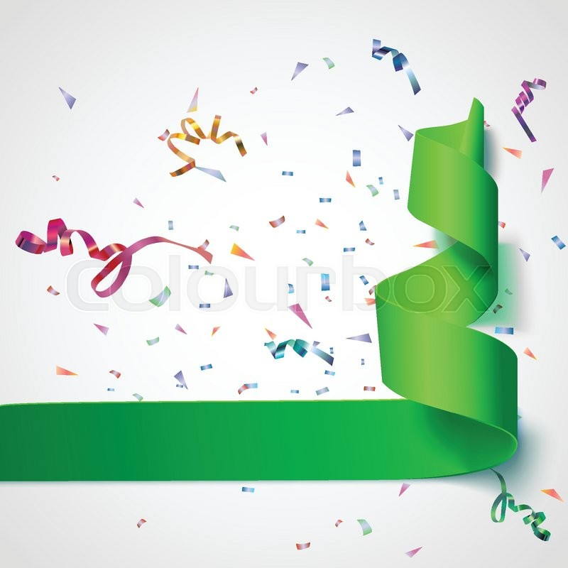colorful streamers with confetti green curved ribbon on celebration background with colorful confetti and ribbons new year and xmass background vector