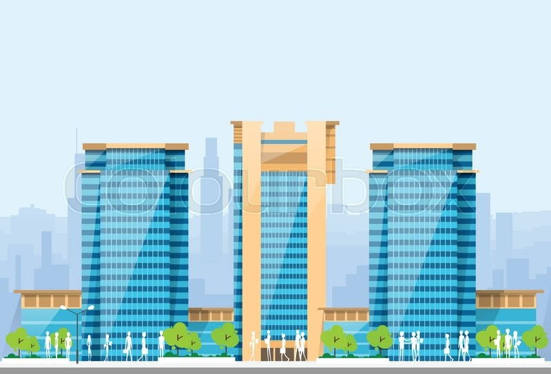 City Skylines Blue Illustration Architecture Modern Building Cityscape Vector Illustration, vector