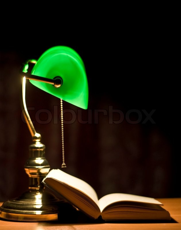 Electric Green Table Lamp And Opened Stock Photo Colourbox