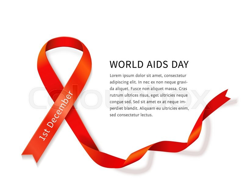 Aids Awareness Red Satin Ribbon Loop Isolated On White Background