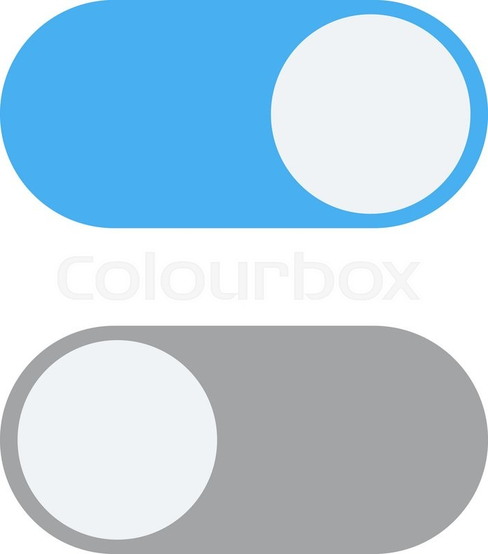 Toggle switch icon, blue in on position, grey in off ...