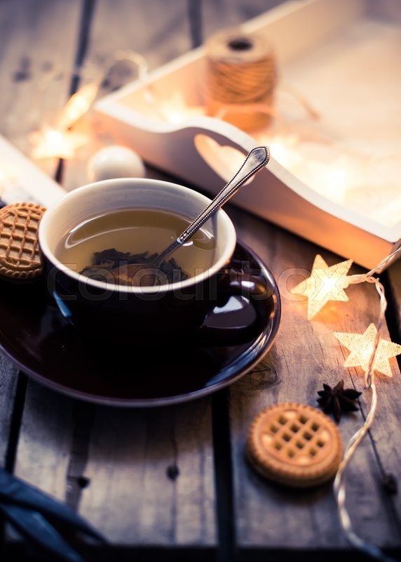Winter Holiday Background Cup Of Tea Stock Photo
