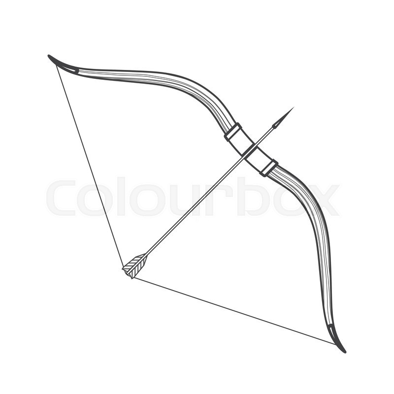 vector monochrome contour medieval wooden bow with arrow isolated