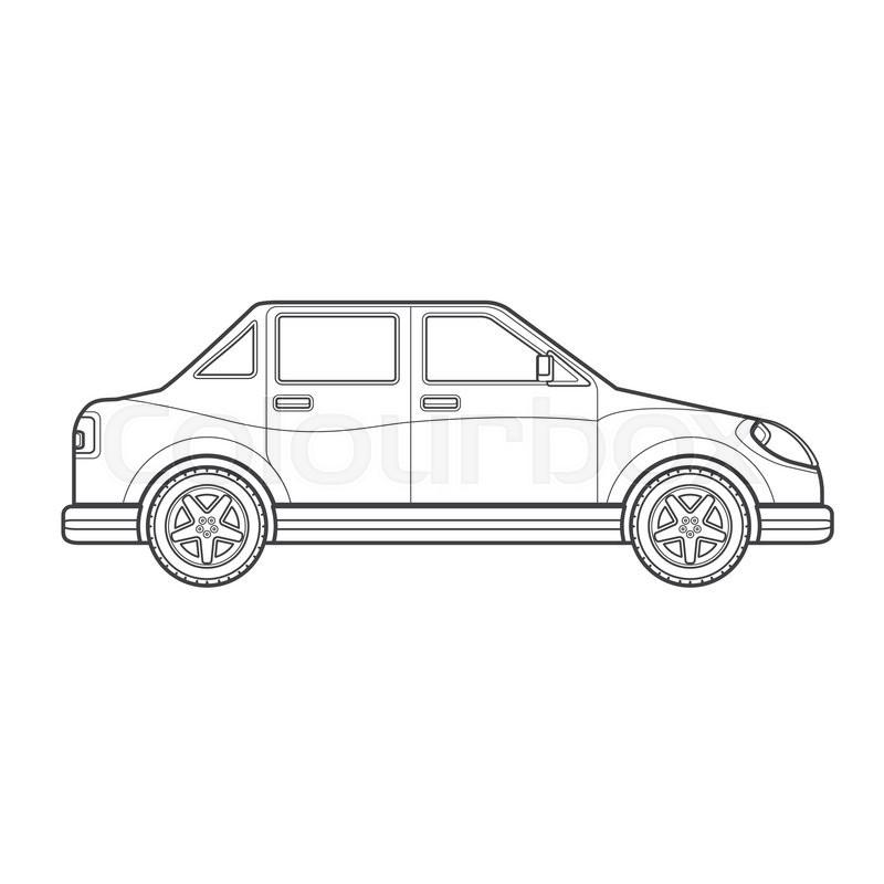 Vector Black Monochrome Contour Four-door Sedan Body Type