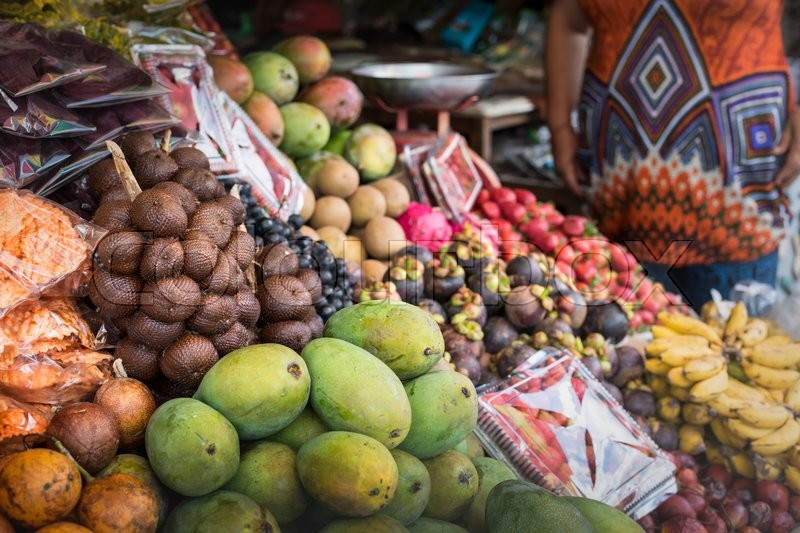 Open air fruit market in the village in Bali, Indonesia, stock photo