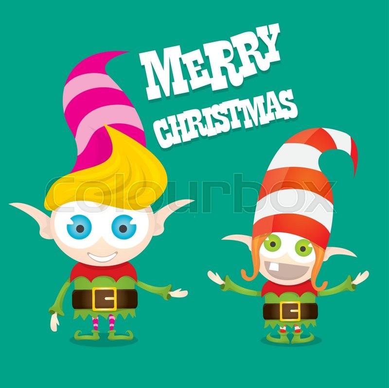 vector cartoon cute happy christmas elf merry christmas illustration stock vector colourbox - Merry Christmas Elf