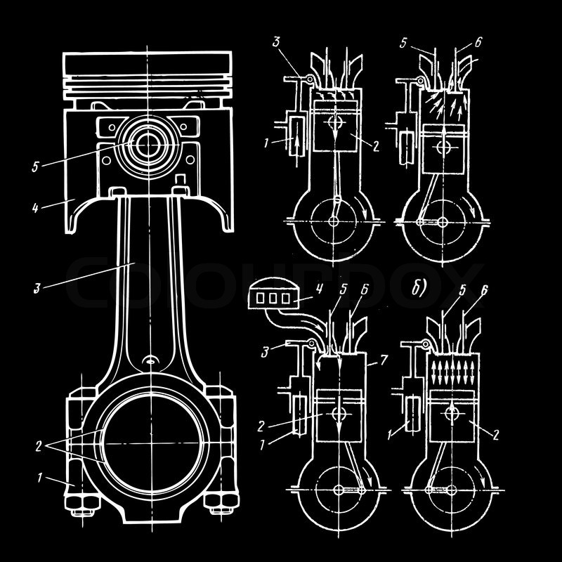 Set of blueprints of pistons on black stock vector colourbox set of blueprints of pistons on black vector malvernweather Images