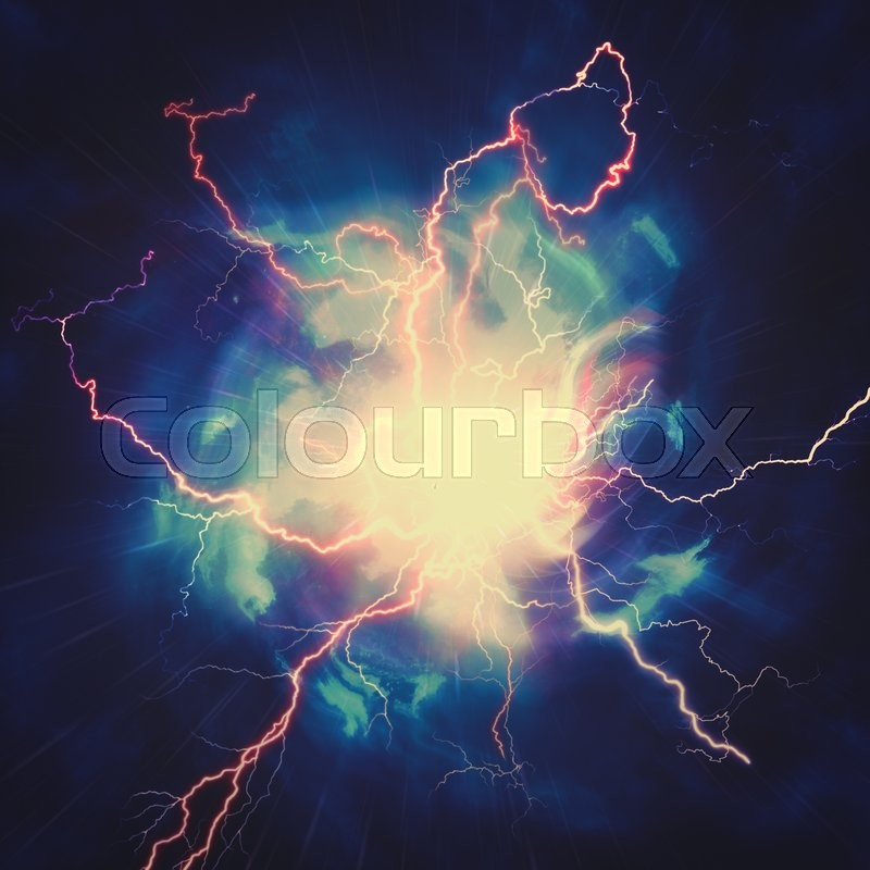 High voltage strike, abstract technology and science backgrounds, stock photo