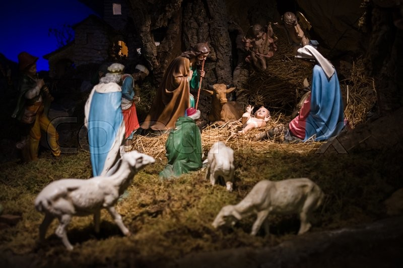 stock image of gubbio italy october 2015 permanent christmas manger scene with