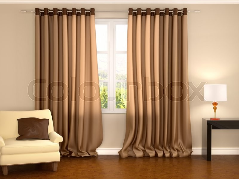 3d illustration of brown curtains in warm interior, stock photo