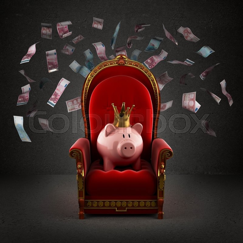 Moneybox pig in crown on the royal throne in the room with falling euro banknotes, stock photo