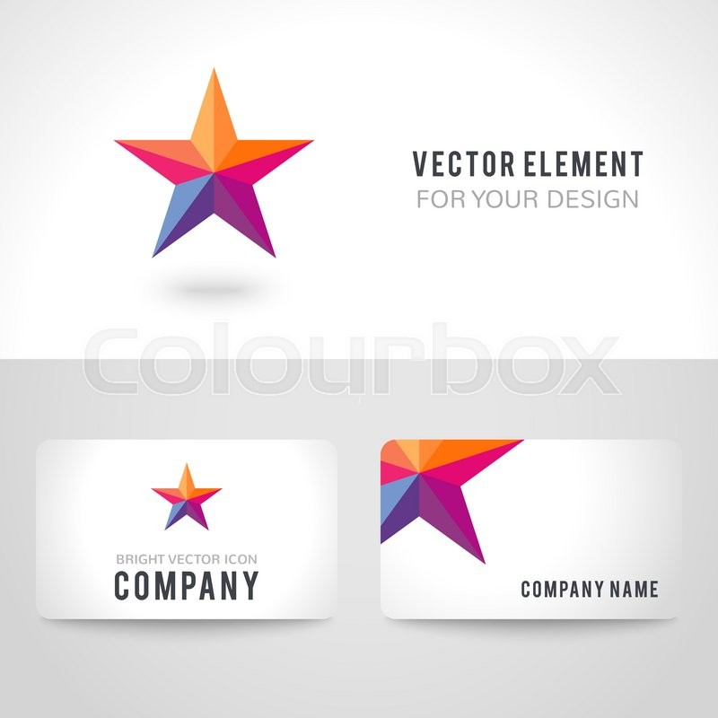Business card template set. Bright colorful star shape in modern ...