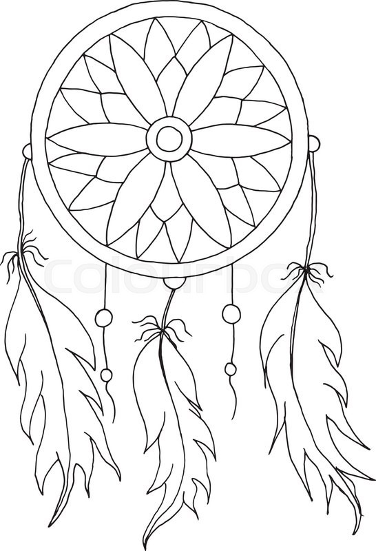 Hand To Draw A Dreamcatcher With Beads And Feathers Of Birds Stock Awesome Drawn Dream Catchers