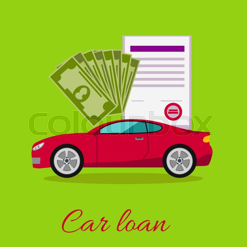 Car loan approved document with dollars money concept. Modern car on stylish background in flat cartoon design style. Loan, car, auto loan, buying a car, new car, car finance, car keys, vector