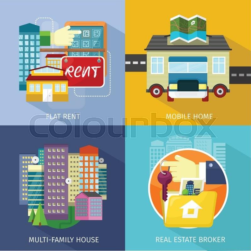 Rental Estate Broker Mobile Home Park Caravan And Manufactured Trailer Residence Construction Housing Illustration Vector