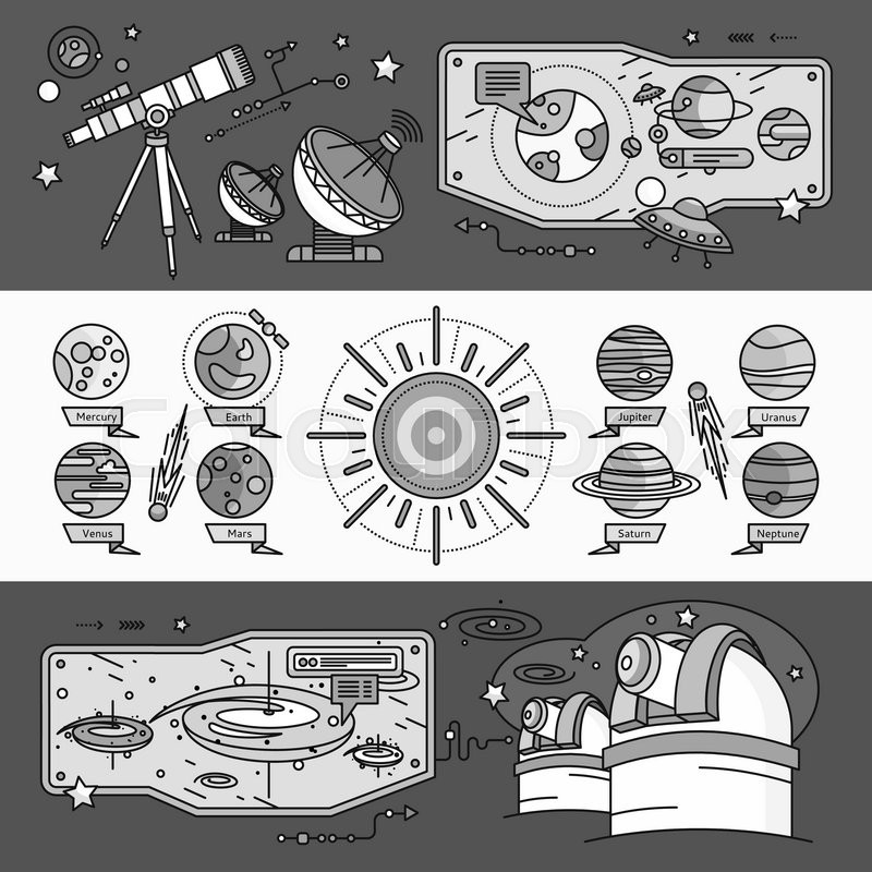Concept of the scientific cosmos flat style. Space and uranus, venus and meteorite, jupiter and neptune, mercury and mars, planetarium and saturn, shuttle and spacecraft. White black, vector