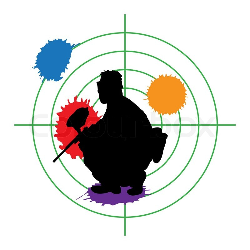 paintball silhouette and a target vector illustration stock rh colourbox com paintball clip art pictures paintball splatter clip art free