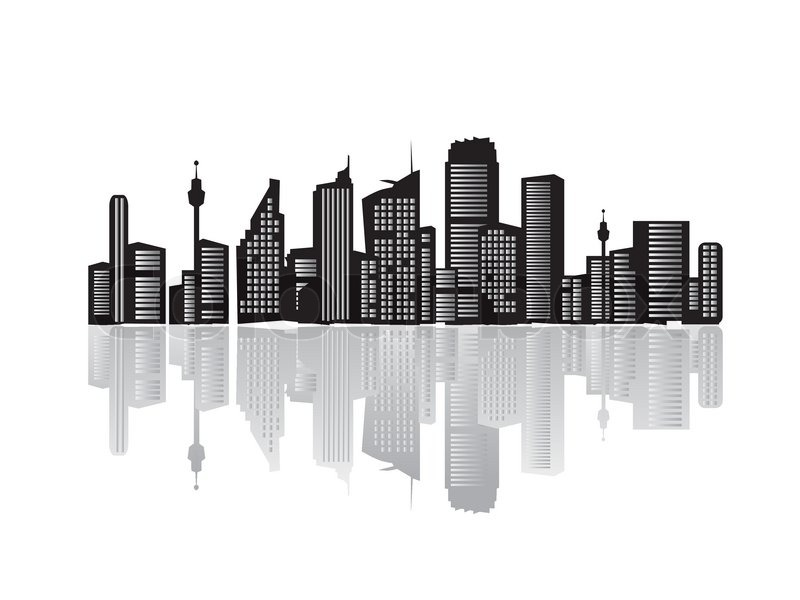 City Landscape Silhouettes Of Houses Black Stock Vector