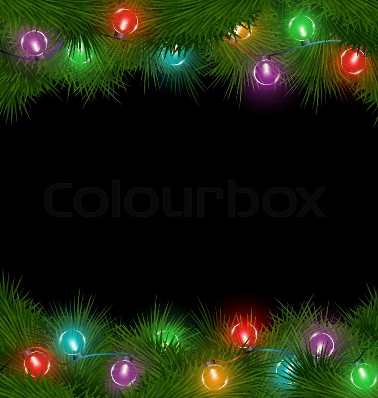 multicolored led christmas lights on pine branches isolated on black