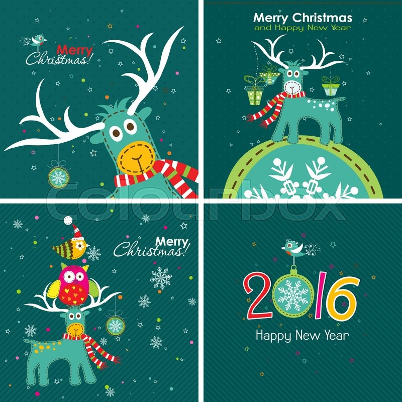 Christmas greeting card with a deer the owl and the words vector christmas greeting card with a deer the owl and the words vector stock vector colourbox m4hsunfo