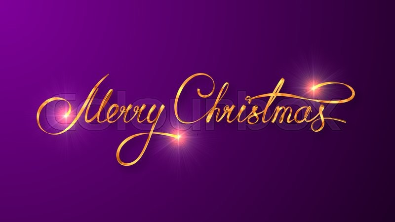 Gold Text Design Of Merry Christmas On Purple Color Background. 3D ...