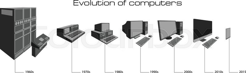 Computer evolution from first PC to tablet | Stock Vector | Colourbox