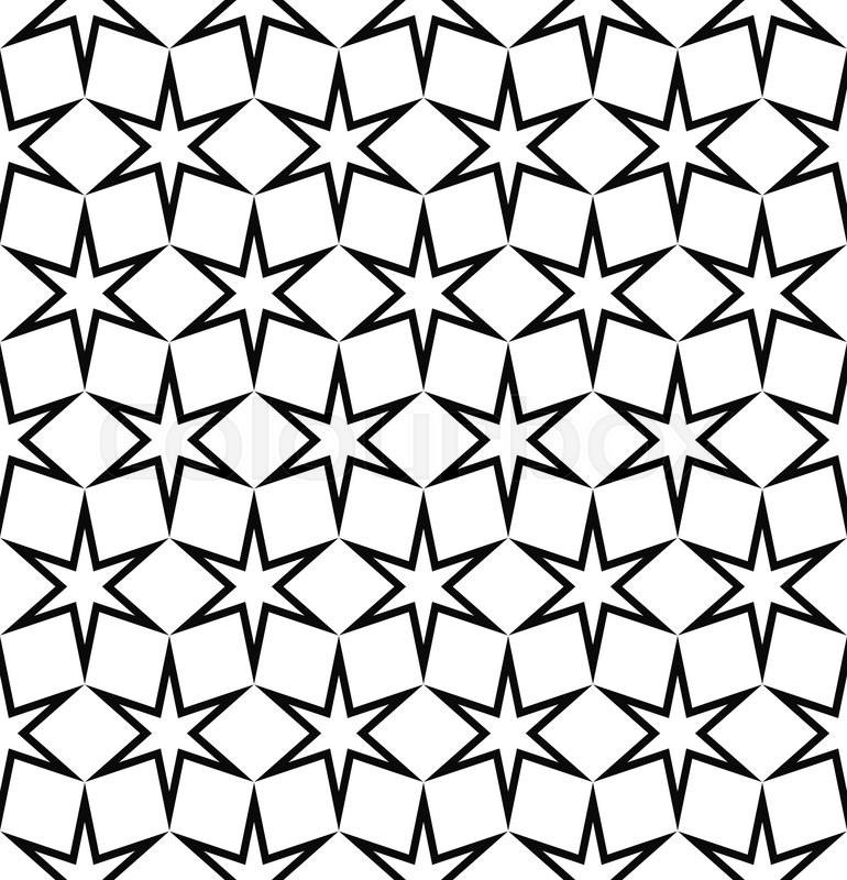 Seamless Black White Hexagonal Vector Star Pattern Design Background |  Stock Vector | Colourbox