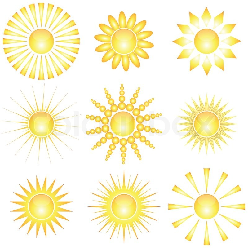 Set of abstract glossy sun collection. Decorative sun ...