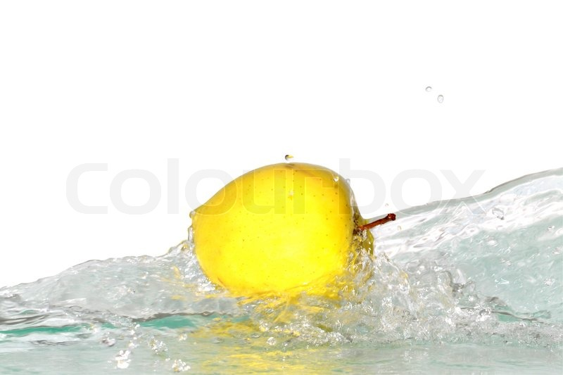 Yellow apple and splashing water isolated on white background with clipping path, stock photo