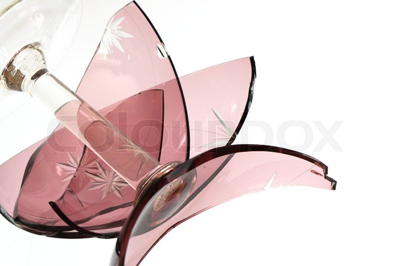 Nice Glass Broken Vase With Fragments On White Background Stock