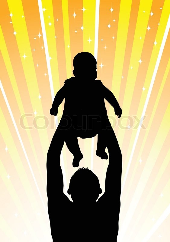 Silhouette Of The Father Of Holding Child On Hands Stock