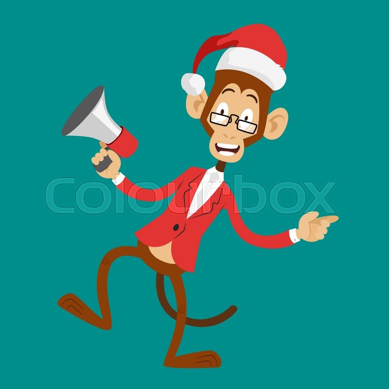 Funny monkey Christmas Santa hat dancing. New Year monkey isolated ...