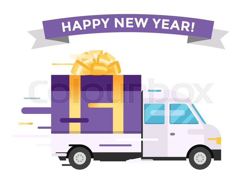 Delivery vector transport truck van christmas gift box bow ribbon delivery vector transport truck van christmas gift box bow ribbon delivery service van new year greeting card delivery truck gift box m4hsunfo