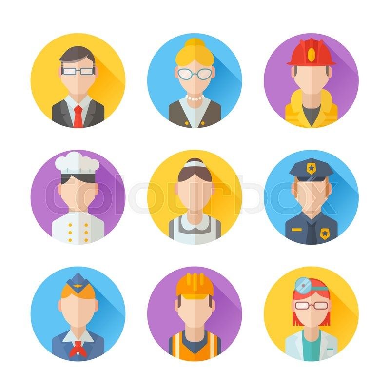Set of flat portraits icons with people of different professions - worker, teacher, cook, maid, businessman, doctor, policeman, stewardess, fireman, vector