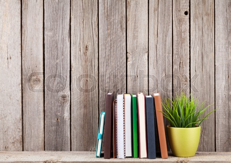 Wooden shelf with books in front of wooden wall. View with copy space, stock photo