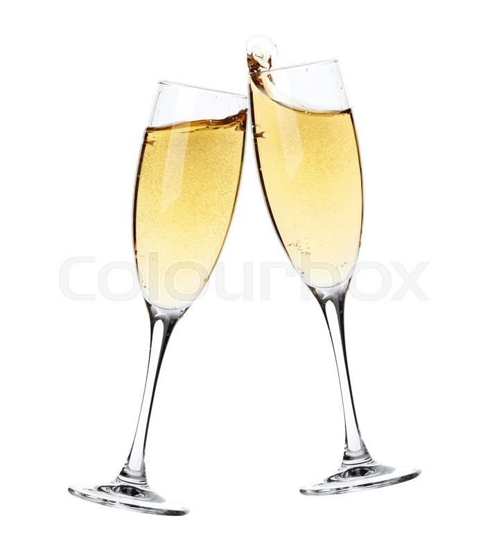 cheers two champagne glasses isolated stock photo. Black Bedroom Furniture Sets. Home Design Ideas