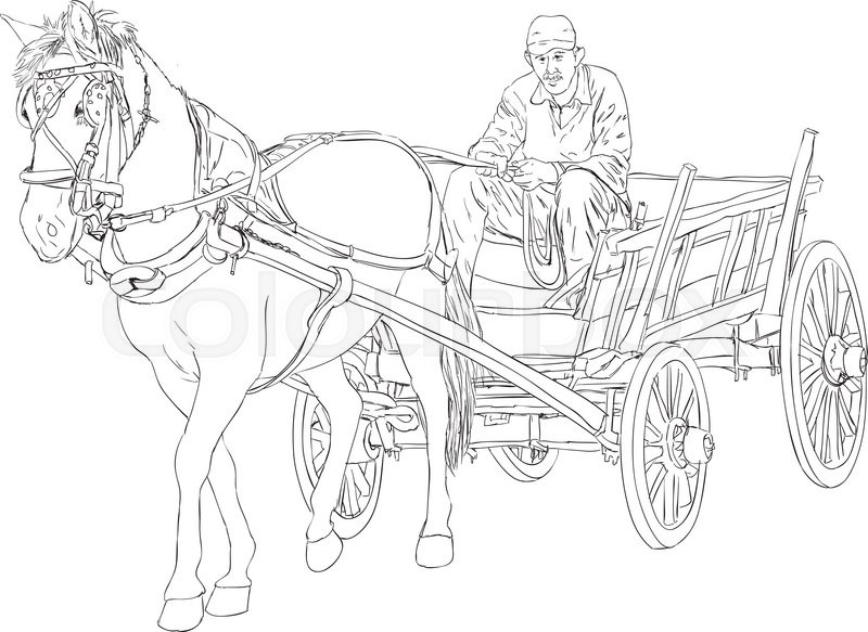 Horse and horse cart sketch stock vector colourbox horse and horse cart sketch vector ccuart Choice Image