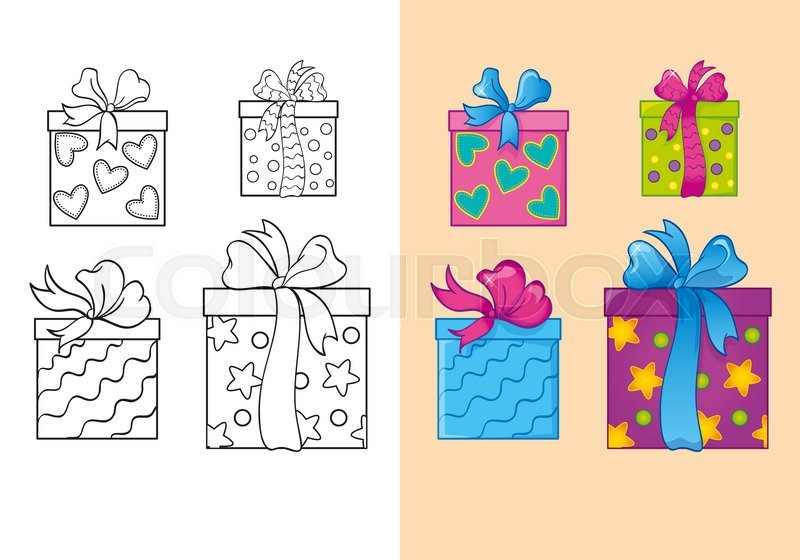 Vector illustration of set Christmas square gift boxes for coloring ...