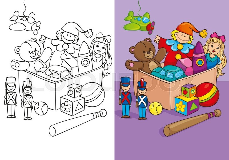 Vector illustration of box with different toys, balls, toy soldiers ...