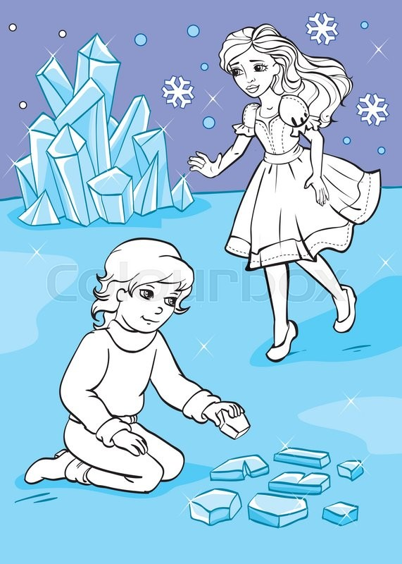 Vector illustration of girl and boy who folded pieces of ice from ...
