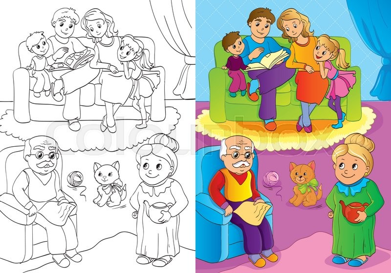 Vector illustration of mother and father and children and