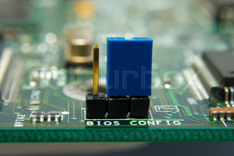 Computer Motherboard Circuit Jumper Stock Photo