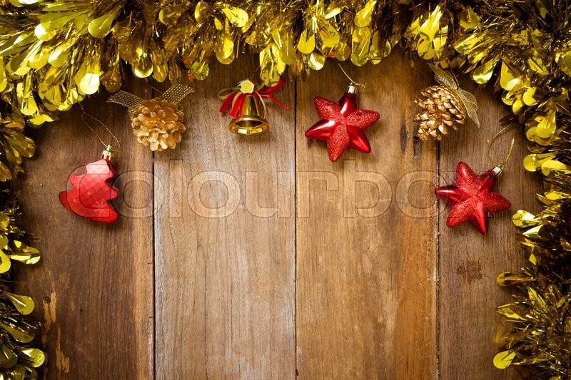 Top view, Christmas Border- Christmas decoration on old wood, stock photo