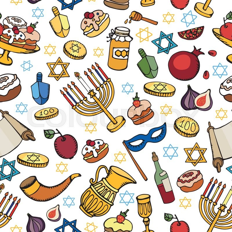 Hanukkah Symbols Seamless Patternodle Hand Drawing Jewish Holiday