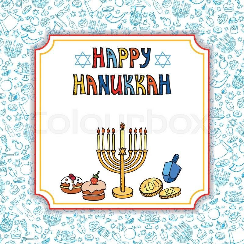 Hanukkah Symbols Greeting Cardodle Hand Drawing Jewish Holiday