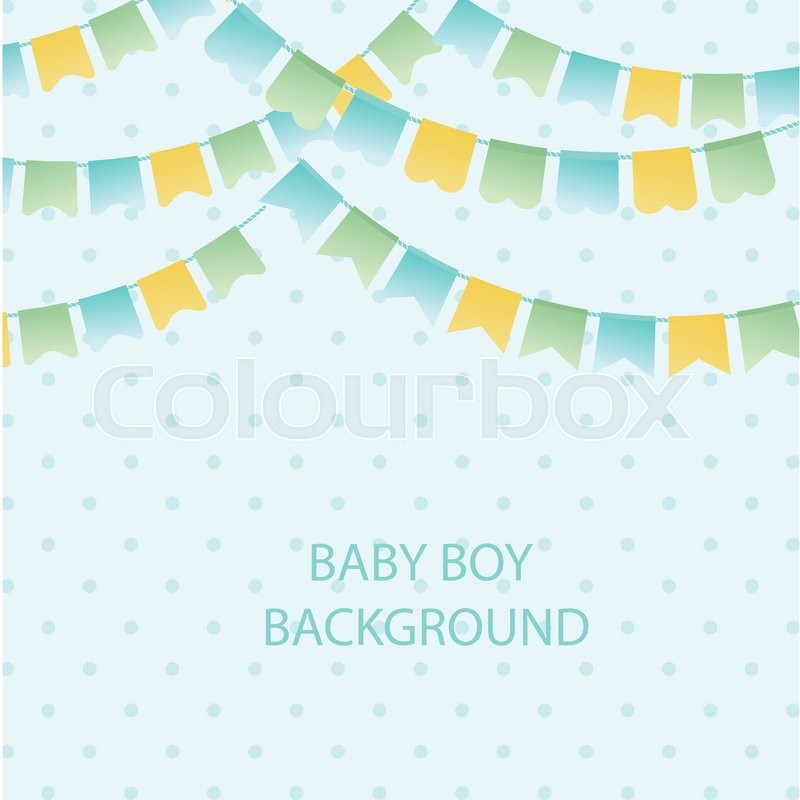 Cute Vintage Textile Blue Green And Yellow Bunting Flags For Boys Baby  Shower Background. Cute Flag Garlands On Polka Dot Background, Vector