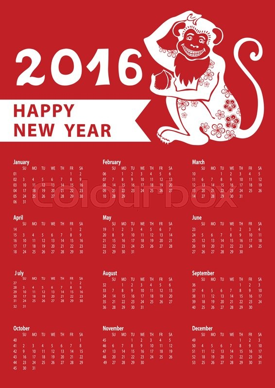 calendar 2016 with monkeychinese zodiac in modern flat stylesignsymbolicon iconnew year holiday vector red backgroundweek starts from sundayamerican - Chinese New Year 2016 Calendar