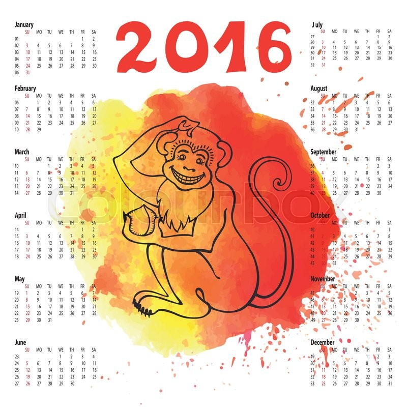 Calendar 2016 With Chinese Zodiac Monkey On Watercolor Texture